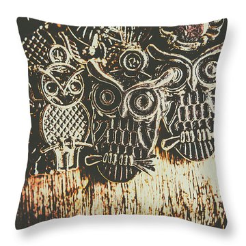 The Owlactic Gathering Throw Pillow
