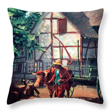 The Ox Cart Throw Pillow by Hanne Lore Koehler