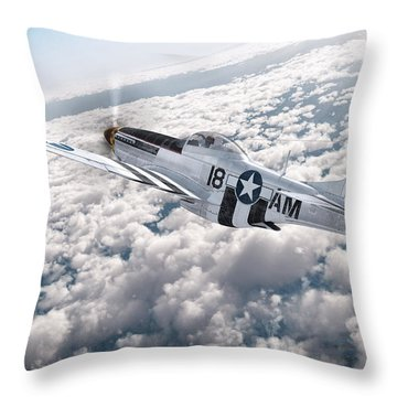 The P-51 Mustang Throw Pillow by David Collins