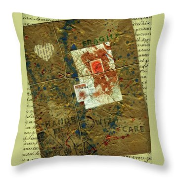 Throw Pillow featuring the mixed media The Package by P J Lewis