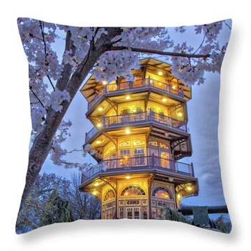Throw Pillow featuring the photograph The Pagoda In Spring At Blue Hour by Mark Dodd