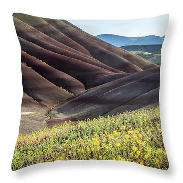 Throw Pillow featuring the photograph The Painted Hills In Bloom by Tim Newton