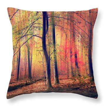 Throw Pillow featuring the photograph The Painted Woodland by Jessica Jenney