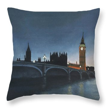 The Palace Of Westminster London Oil On Canvas Throw Pillow