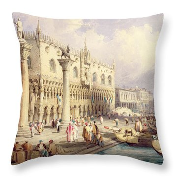 The Palaces Of Venice Throw Pillow by Samuel Prout