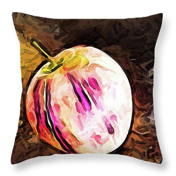 The Pale Pink Apple With The Hot Pink Stripes Throw Pillow