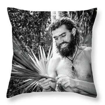 The Palm Frond Weaver Throw Pillow