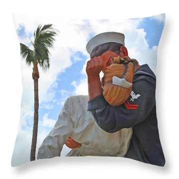 Throw Pillow featuring the photograph The Palm Kiss by Jost Houk