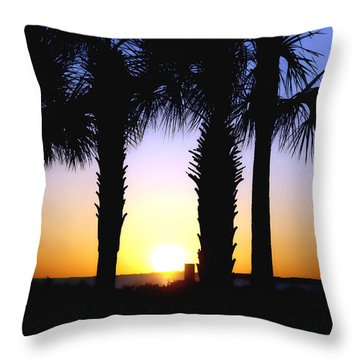 The Palms At Sunset Throw Pillow by Debra Forand