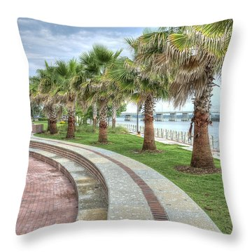 The Palms Of Water Front Park Throw Pillow