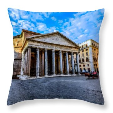 Throw Pillow featuring the painting The Pantheon Rome by David Dehner