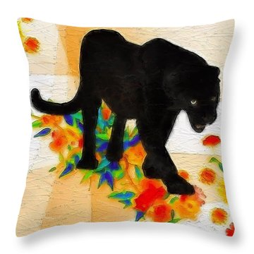 The Panther In The Flowerbed Throw Pillow