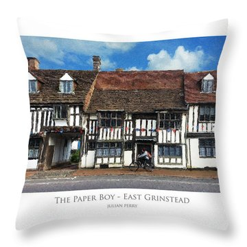 Throw Pillow featuring the digital art The Paper Boy - East Grinstead by Julian Perry