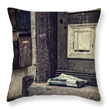 The Paper Boy Was There. Throw Pillow