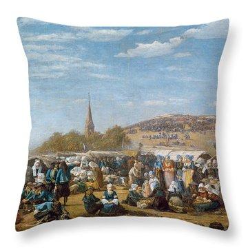 The Pardon Of Sainte Anne La Palud Throw Pillow by Eugene Louis Boudin