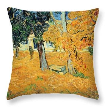 The Park At Saint Pauls Hospital Saint Remy Throw Pillow by Vincent van Gogh