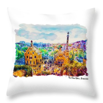 Park Guell Barcelona Throw Pillow by Marian Voicu