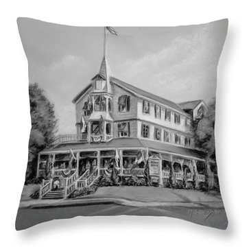 The Parker House Black And White Throw Pillow by Melinda Saminski