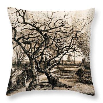 The Parsonage Garden At Nuenen In Winter Throw Pillow