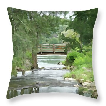 The Pasture's Bridge Throw Pillow