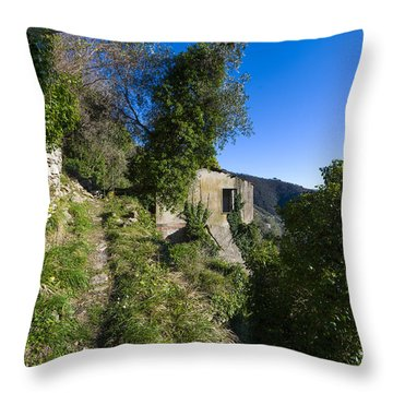 Throw Pillow featuring the photograph The Path Near The Zoagli Old Abandoned House by Enrico Pelos