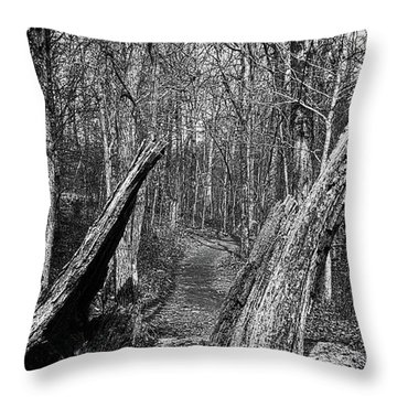 The Path Through The Woods Bandw Throw Pillow