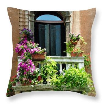 The Peach Wall With Fushia Flowers Throw Pillow
