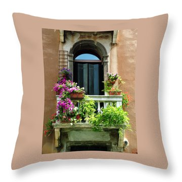 The Peach Wall With Fushia Flowers Throw Pillow
