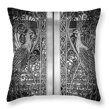 The Peacock Door Throw Pillow by Howard Salmon