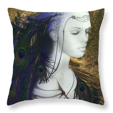 Throw Pillow featuring the painting The Peacock Queen by Ragen Mendenhall