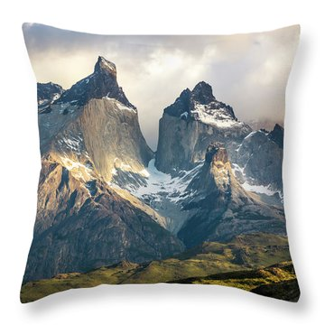 The Peaks At Sunrise Throw Pillow by Andrew Matwijec