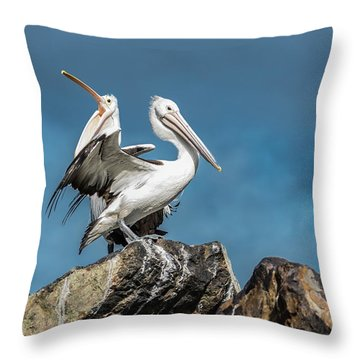 The Pelicans Throw Pillow by Racheal Christian