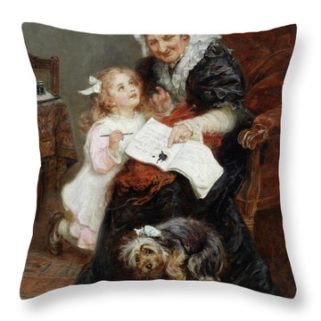 The Penitent Puppy Throw Pillow by Fred Morgan