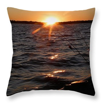 Throw Pillow featuring the photograph The Perfect Ending - After A Good Day Of Fishing by Angie Rea