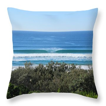 The Perfect Wave Sunrise Beach Queensland Australia Throw Pillow by Chris Hobel