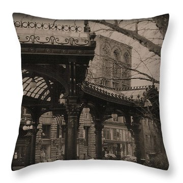 The Pergola At Pioneer Square Throw Pillow by Nadalyn Larsen