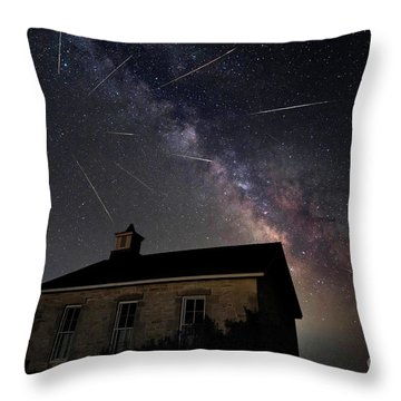 The Perseid Meteor Shower At Lower Fox Creek School  Throw Pillow
