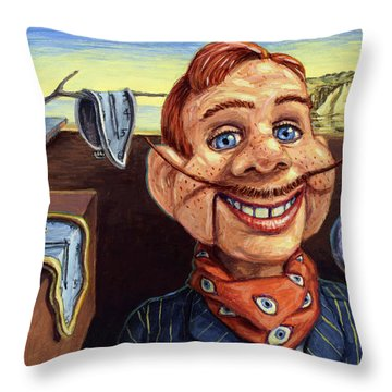 Throw Pillow featuring the painting The Persistence Of Doody by James W Johnson
