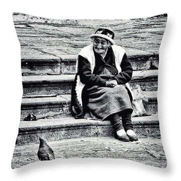 The Peruvian Lady Black And White Throw Pillow