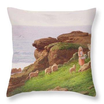 The Pet Lamb Throw Pillow by J Hardwicke Lewis