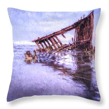 A Stormy Peter Iredale Throw Pillow