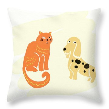 The Pets Throw Pillow by Priscilla Wolfe
