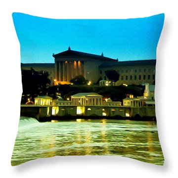 The Philadelphia Art Museum And Waterworks At Night Throw Pillow by Bill Cannon