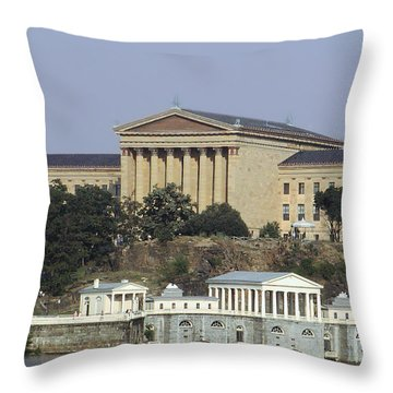 The Philly Art Museum And Waterworks Throw Pillow by Bill Cannon