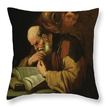 The Philosopher By Jusepe De Ribera Throw Pillow