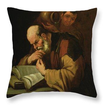The Philosopher By Jusepe De Ribera Throw Pillow