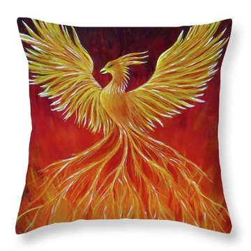 Throw Pillow featuring the painting The Phoenix by Teresa Wing