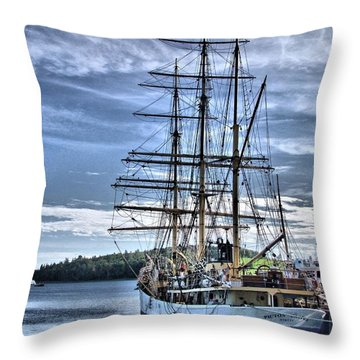 The Picton Castle Docked In Lunenburg Throw Pillow