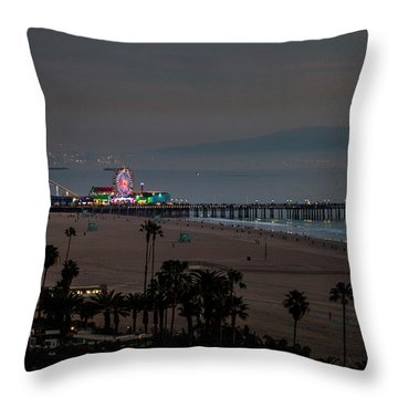 The Pier After Dark Throw Pillow