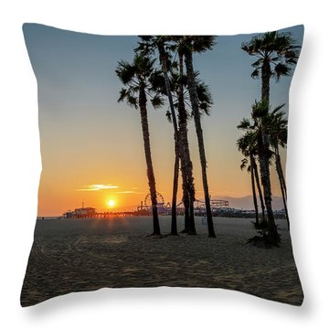 The Pier At Sunset Throw Pillow
